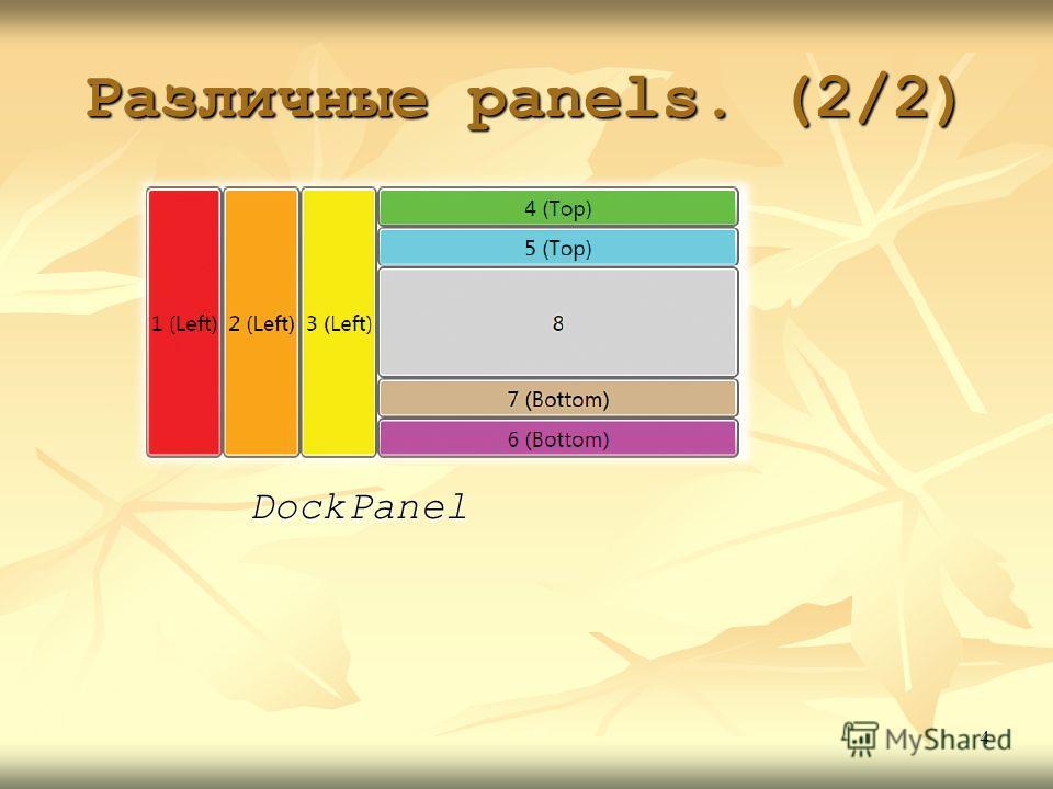 Различные panels. (2/2) DockPanel 4