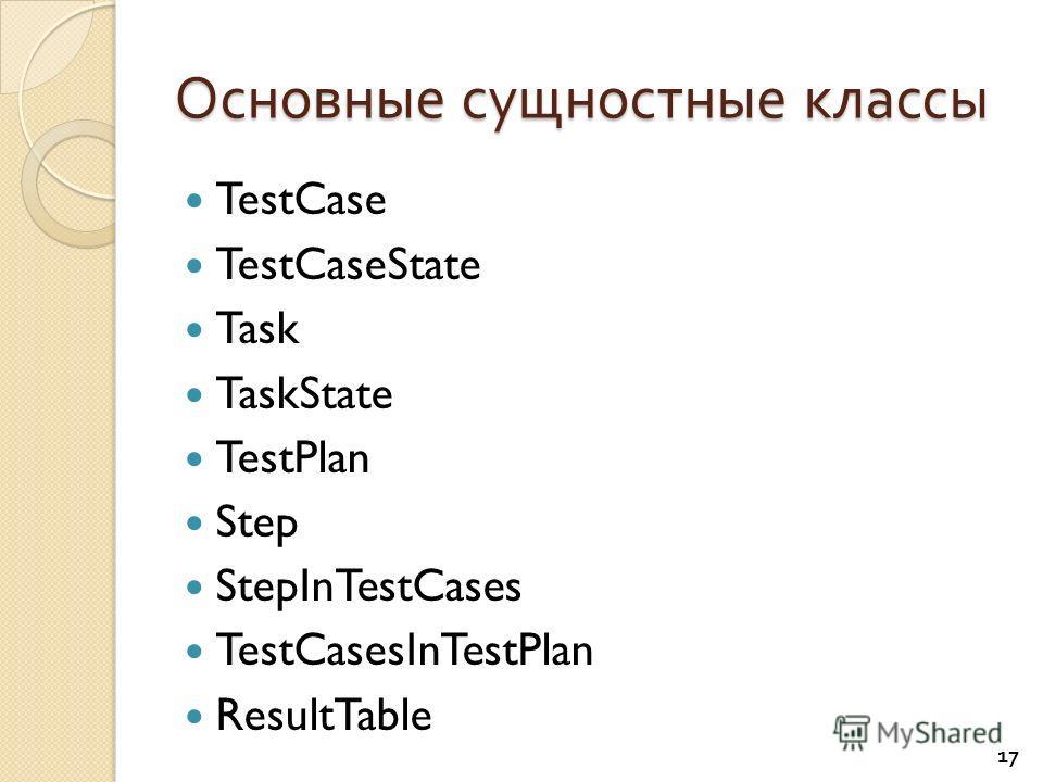 Основные сущностные классы TestCase TestCaseState Task TaskState TestPlan Step StepInTestCases TestCasesInTestPlan ResultTable 17