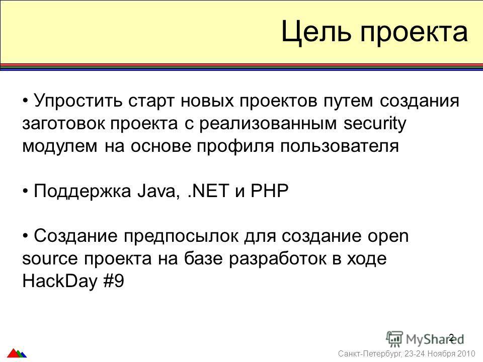 2 Цель проекта Санкт-Петербург, 23-24 Ноября 2010 Упростить старт новых проектов путем создания заготовок проекта с реализованным security модулем на основе профиля пользователя Поддержка Java,.NET и PHP Создание предпосылок для создание open source