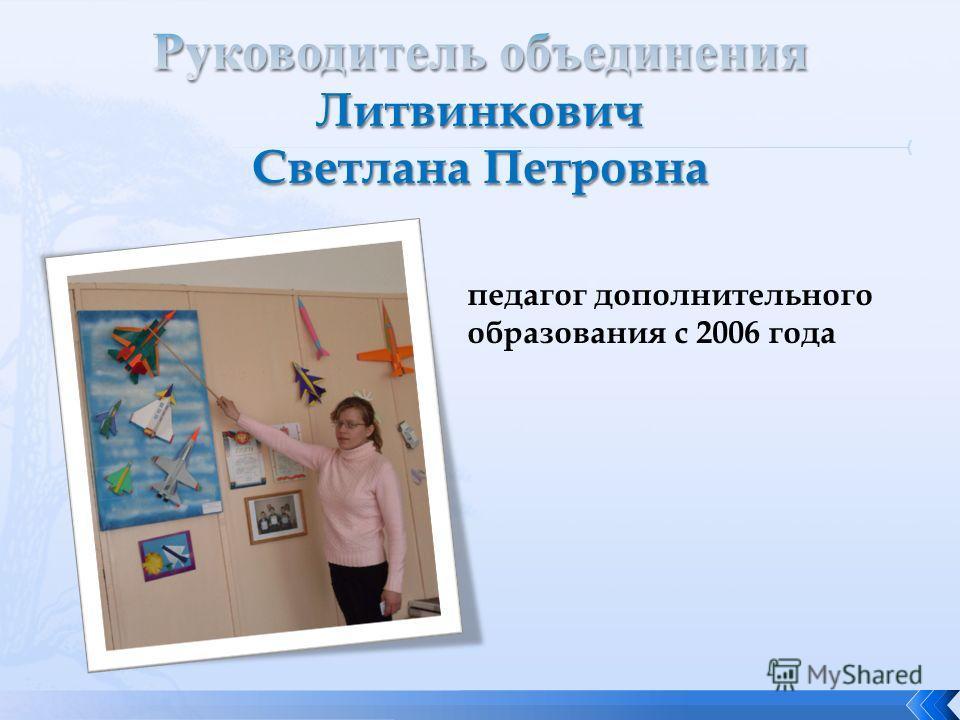 педагог дополнительного образования с 2006 года