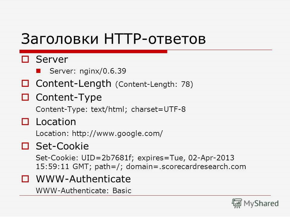 Заголовки HTTP-ответов Server Server: nginx/0.6.39 Content-Length (Content-Length: 78) Content-Type Content-Type: text/html; charset=UTF-8 Location Location: http://www.google.com/ Set-Cookie Set-Cookie: UID=2b7681f; expires=Tue, 02-Apr-2013 15:59:11