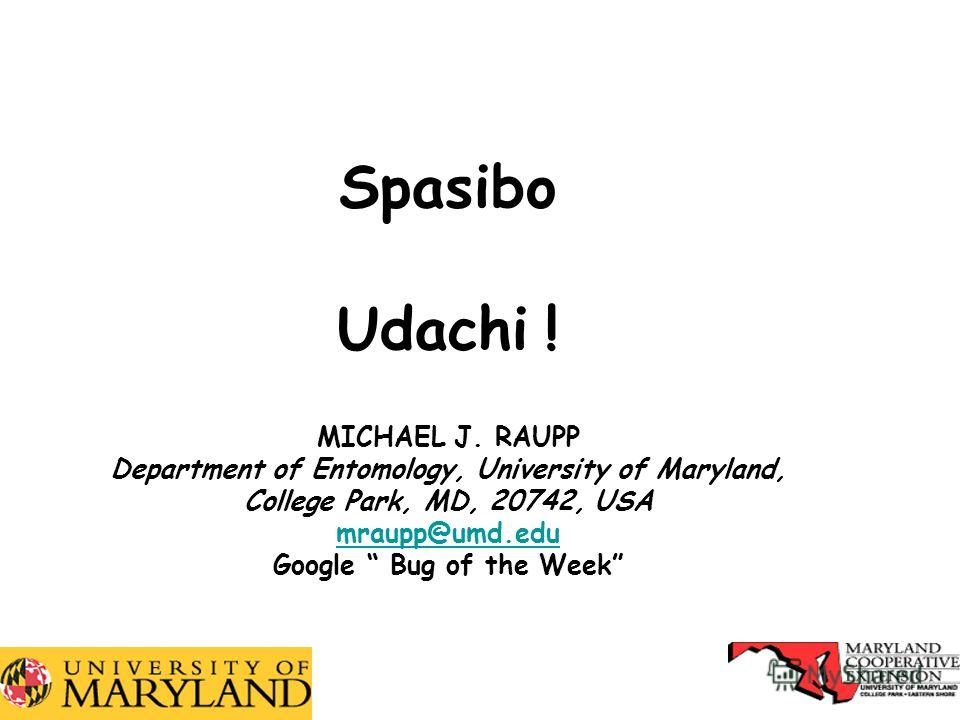 32 Spasibo Udachi ! MICHAEL J. RAUPP Department of Entomology, University of Maryland, College Park, MD, 20742, USA mraupp@umd.edu Google Bug of the Week mraupp@umd.edu