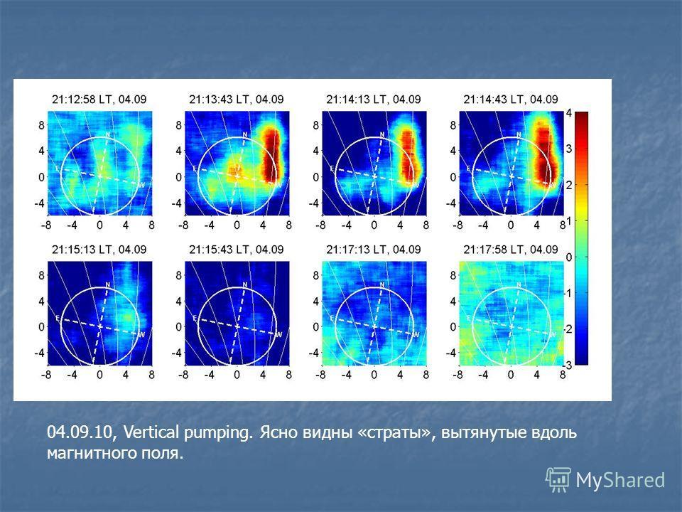 04.09.10, Vertical pumping. Ясно видны «страты», вытянутые вдоль магнитного поля.