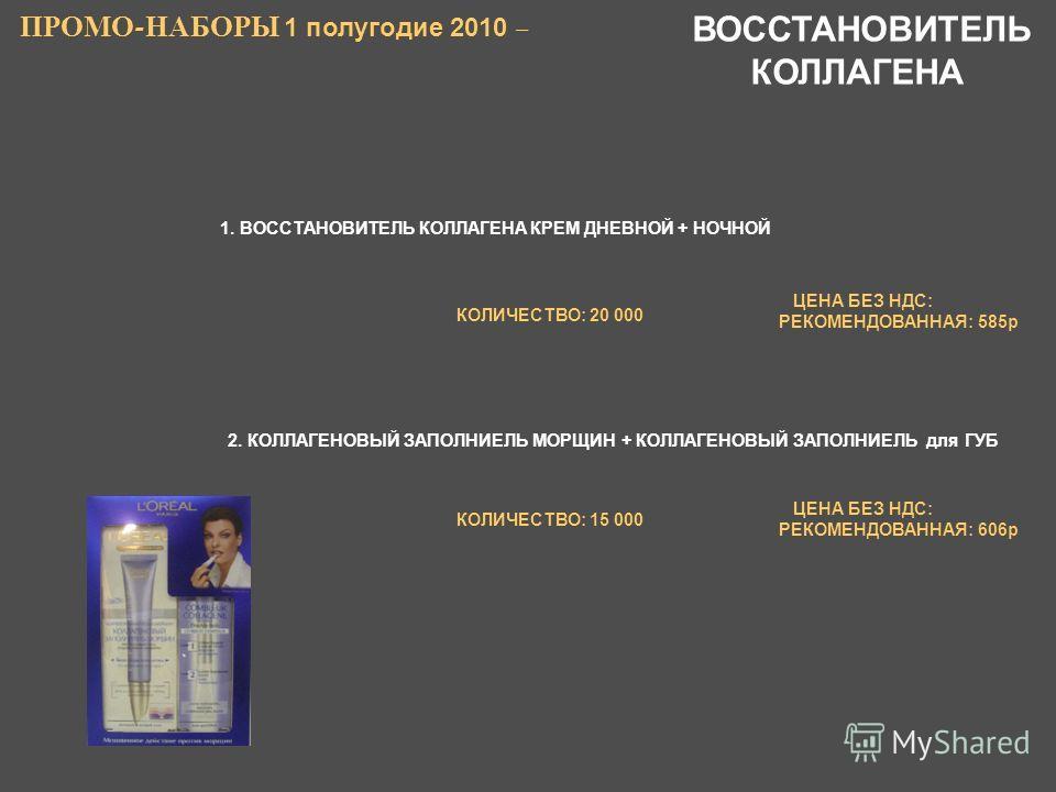 1. ВОССТАНОВИТЕЛЬ КОЛЛАГЕНА КРЕМ ДНЕВНОЙ + НОЧНОЙ ПРОМО - НАБОРЫ 1 полугодие 2010 – 2. КОЛЛАГЕНОВЫЙ ЗАПОЛНИЕЛЬ МОРЩИН + КОЛЛАГЕНОВЫЙ ЗАПОЛНИЕЛЬ для ГУБ ЦЕНА БЕЗ НДС: РЕКОМЕНДОВАННАЯ: 585р ЦЕНА БЕЗ НДС: РЕКОМЕНДОВАННАЯ: 606р ВОССТАНОВИТЕЛЬ КОЛЛАГЕНА К