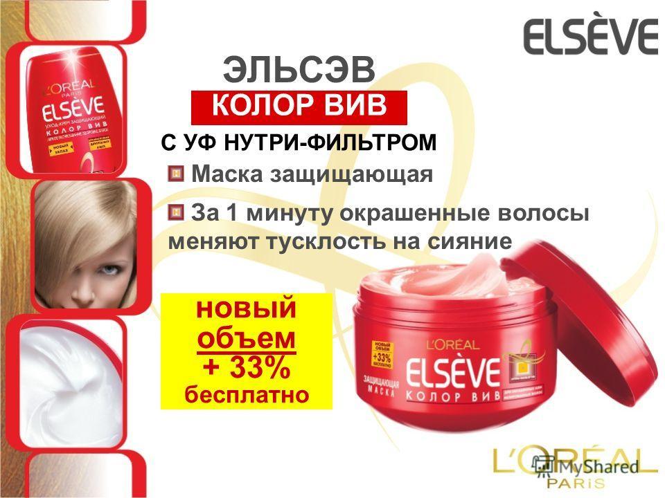 Маска защищающая новый объем + 33% бесплатно За 1 минуту окрашенные волосы меняют тусклость на сияние С УФ НУТРИ-ФИЛЬТРОМ КОЛОР ВИВ ЭЛЬСЭВ