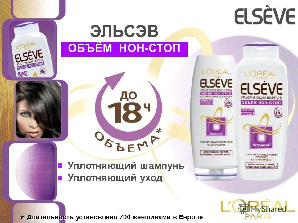 * Длительность установлена 700 женщинами в Европе Уплотняющий шампунь Уплотняющий уход ОБЪЁМ НОН-СТОП ЭЛЬСЭВ