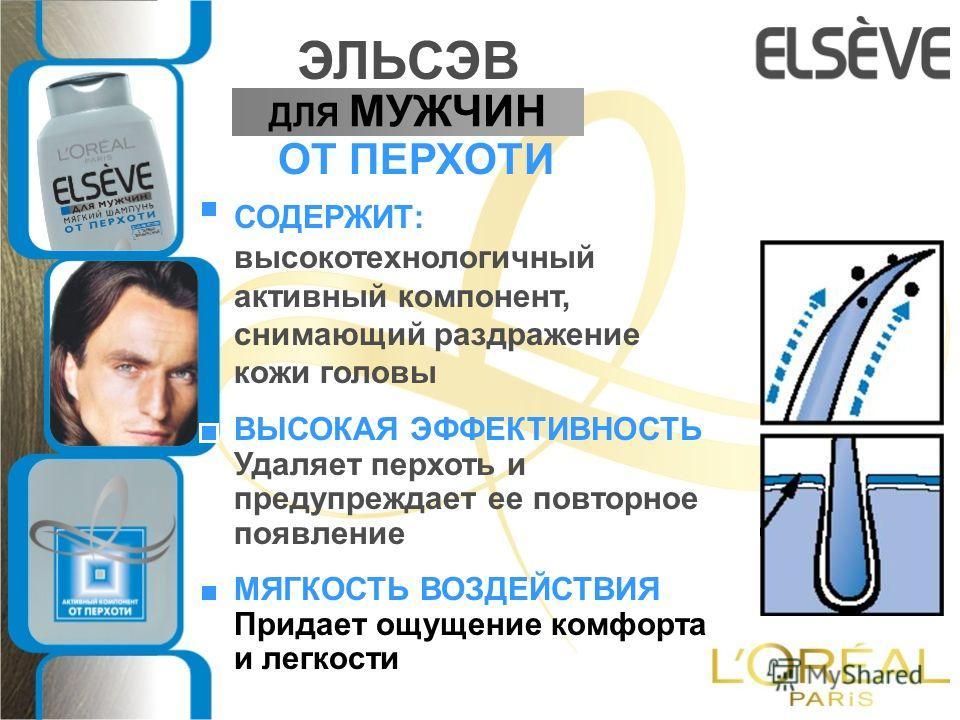 ВЫСОКАЯ ЭФФЕКТИВНОСТЬ Удаляет перхоть и предупреждает ее повторное появление МЯГКОСТЬ ВОЗДЕЙСТВИЯ Придает ощущение комфорта и легкости ДЛЯ МУЖЧИН ЭЛЬСЭВ ОТ ПЕРХОТИ СОДЕРЖИТ: высокотехнологичный активный компонент, снимающий раздражение кожи головы