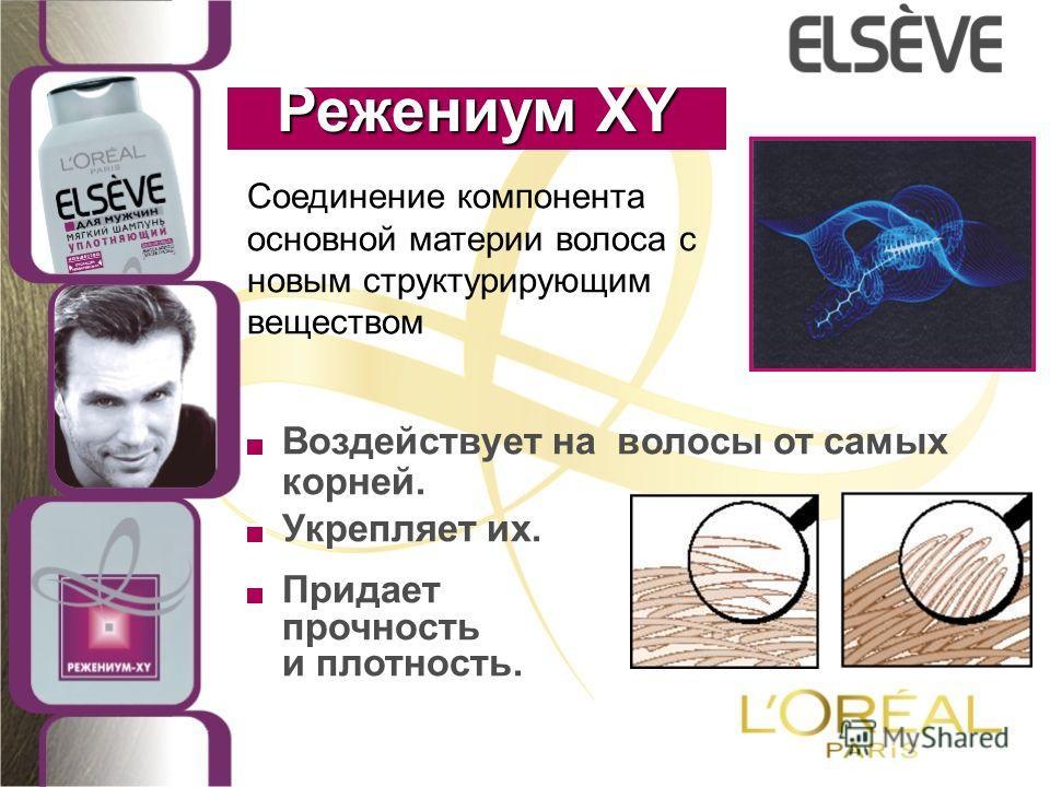 Соединение компонента основной материи волоса с новым структурирующим веществом Режениум XY Воздействует на волосы от самых корней. Укрепляет их. Придает прочность и плотность.