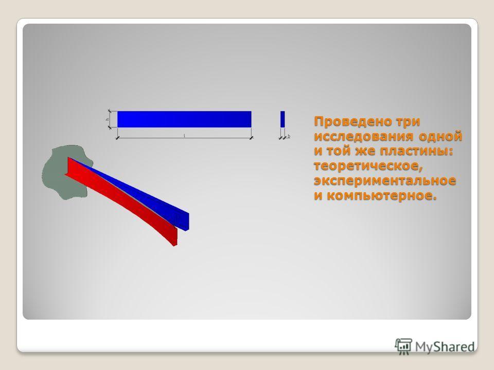 Проведено три исследования одной и той же пластины: теоретическое, экспериментальное и компьютерное.