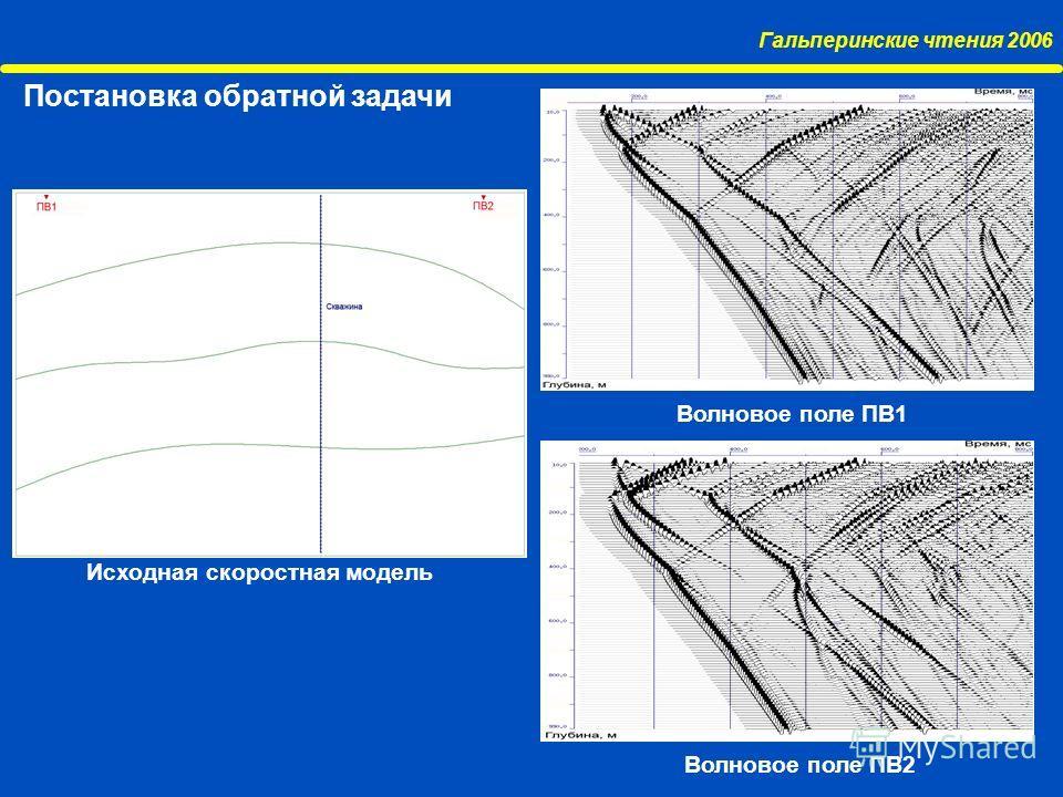 Гальперинские чтения 2006 Постановка обратной задачи Исходная скоростная модель Волновое поле ПВ1 Волновое поле ПВ2