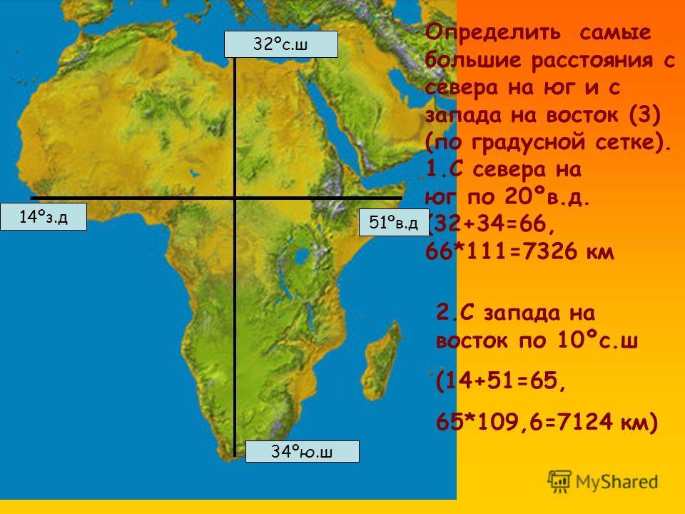Определить самые большие расстояния с севера на юг и с запада на восток (3) (по градусной сетке). 1.С севера на юг по 20ºв.д. (32+34=66, 66*111=7326 км 32ºс.ш 34ºю.ш 2.С запада на восток по 10ºс.ш (14+51=65, 65*109,6=7124 км) 14ºз.д 51ºв.д