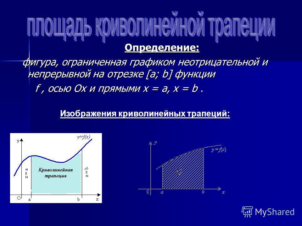Определение: фигура, ограниченная графиком неотрицательной и непрерывной на отрезке [a; b] функции f, осью Ох и прямыми х = а, х = b. Изображения криволинейных трапеций: