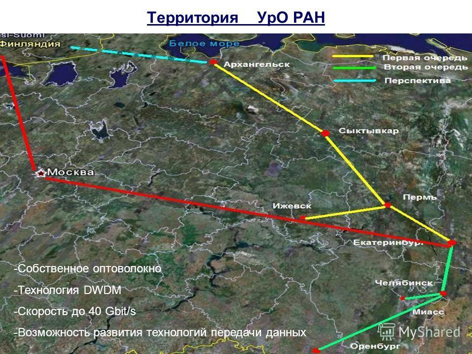 Территория УрО РАН -Собственное оптоволокно -Технология DWDM -Скорость до 40 Gbit/s -Возможность развития технологий передачи данных