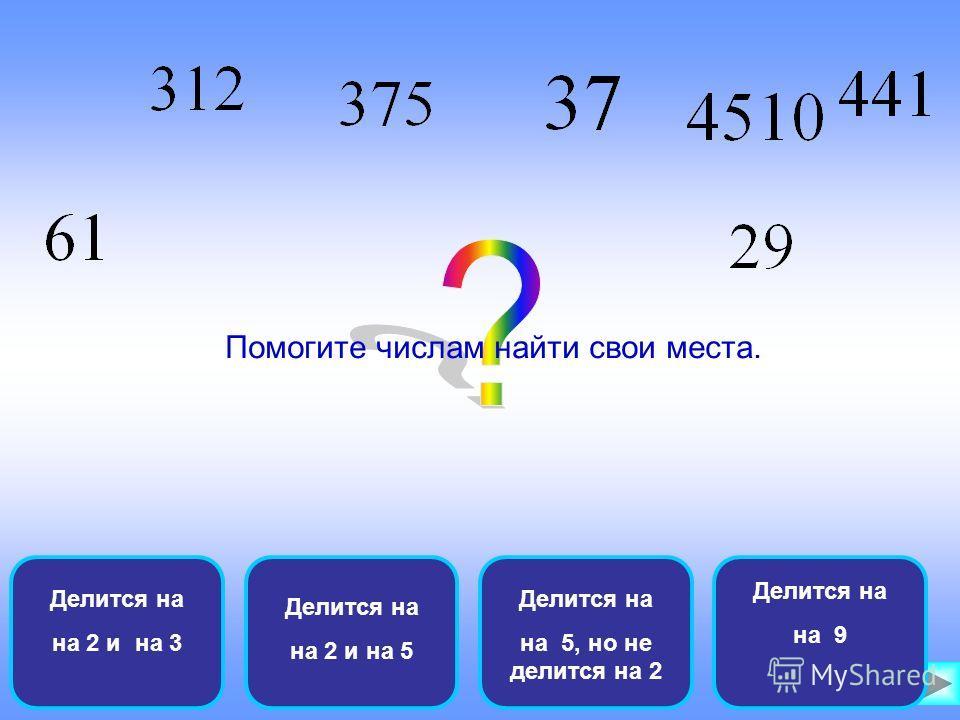 Делится на на 2 и на 3 Делится на на 2 и на 5 Делится на на 5, но не делится на 2 Делится на на 9 Помогите числам найти свои места.
