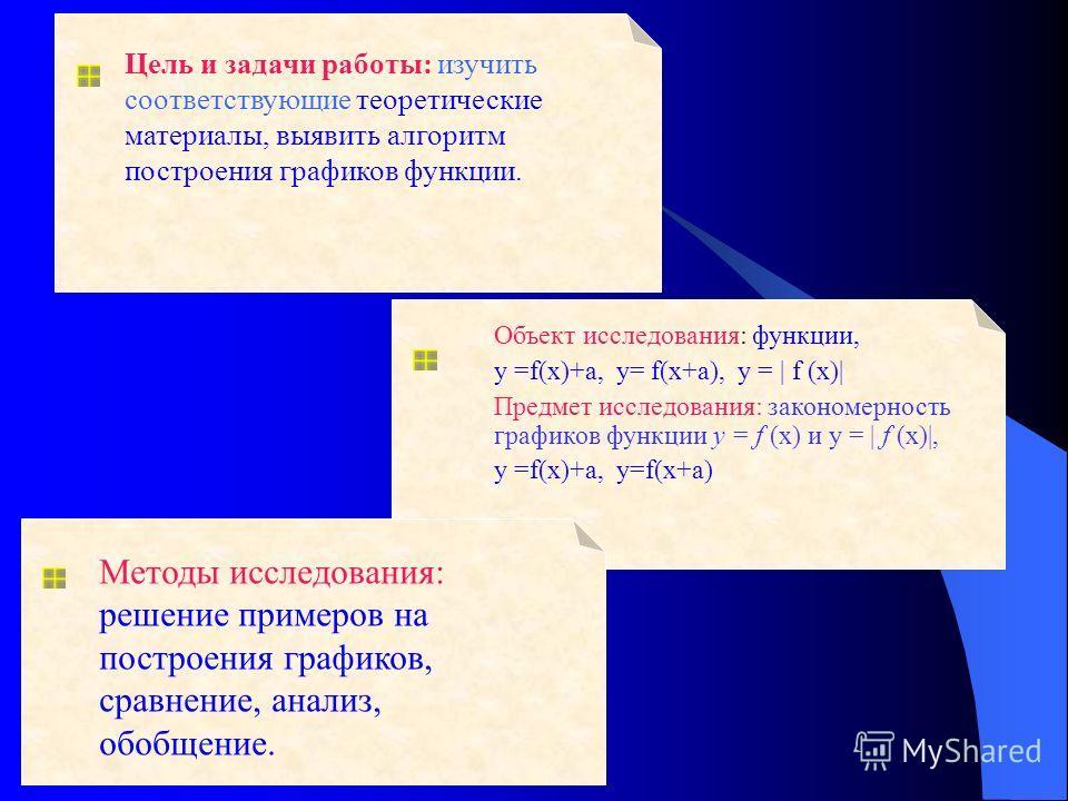 Цель и задачи работы: изучить соответствующие теоретические материалы, выявить алгоритм построения графиков функции. Объект исследования: функции, у =f(x)+а, y= f(x+a), у = | f (х)| Предмет исследования: закономерность графиков функции у = f (х) и у