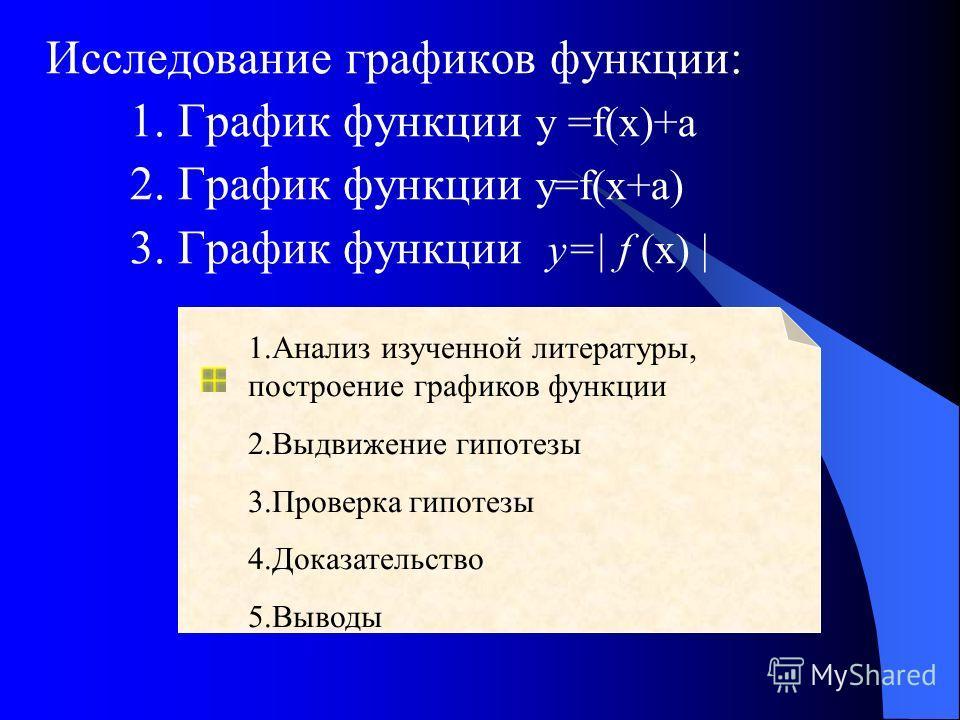 Исследование графиков функции: 1. График функции у =f(x)+а 2. График функции y=f(x+a) 3. График функции у=| f (х) | 1.Анализ изученной литературы, построение графиков функции 2.Выдвижение гипотезы 3.Проверка гипотезы 4.Доказательство 5.Выводы
