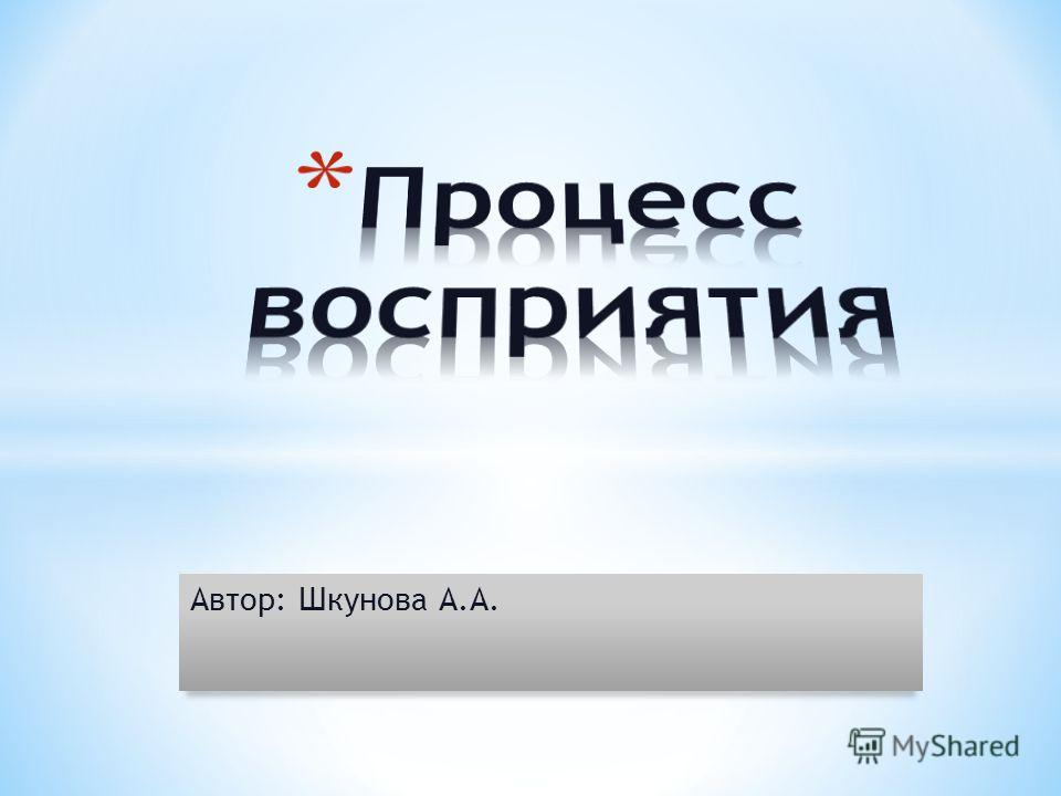 Автор: Шкунова А.А.