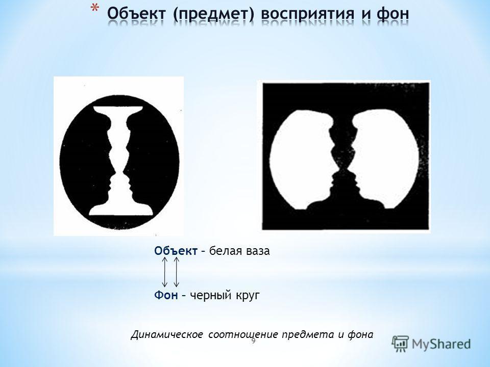 9 Объект – белая ваза Фон – черный круг Динамическое соотношение предмета и фона
