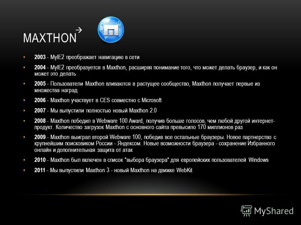 MAXTHON 2003 - MyIE2 преображает навигацию в сети 2004 - MyIE2 преобразуется в Maxthon, расширяя понимание того, что может делать браузер, и как он может это делать 2005 - Пользователи Maxthon вливаются в растущее сообщество, Maxthon получает первые