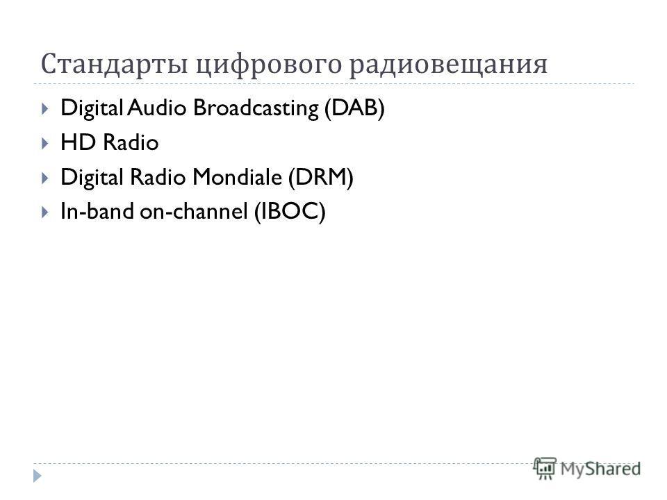 Стандарты цифрового радиовещания Digital Audio Broadcasting (DAB) HD Radio Digital Radio Mondiale (DRM) In-band on-channel (IBOC)