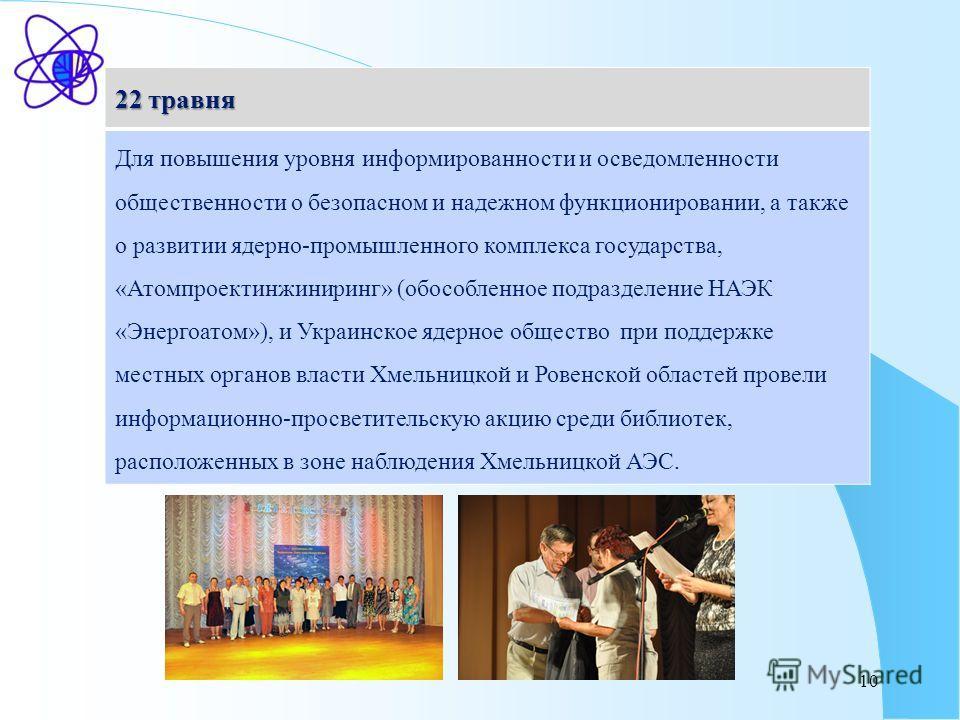 10 22 травня Для повышения уровня информированности и осведомленности общественности о безопасном и надежном функционировании, а также о развитии ядерно-промышленного комплекса государства, «Атомпроектинжиниринг» (обособленное подразделение НАЭК «Эне