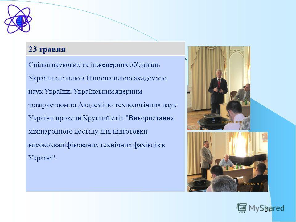 21 23 травня Спілка наукових та інженерних об'єднань України спільно з Національною академією наук України, Українським ядерним товариством та Академією технологічних наук України провели Круглий стіл