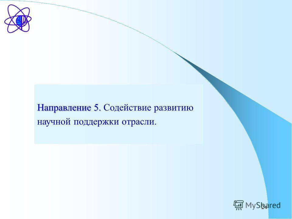 24 Направление 5. Направление 5. Содействие развитию научной поддержки отрасли.
