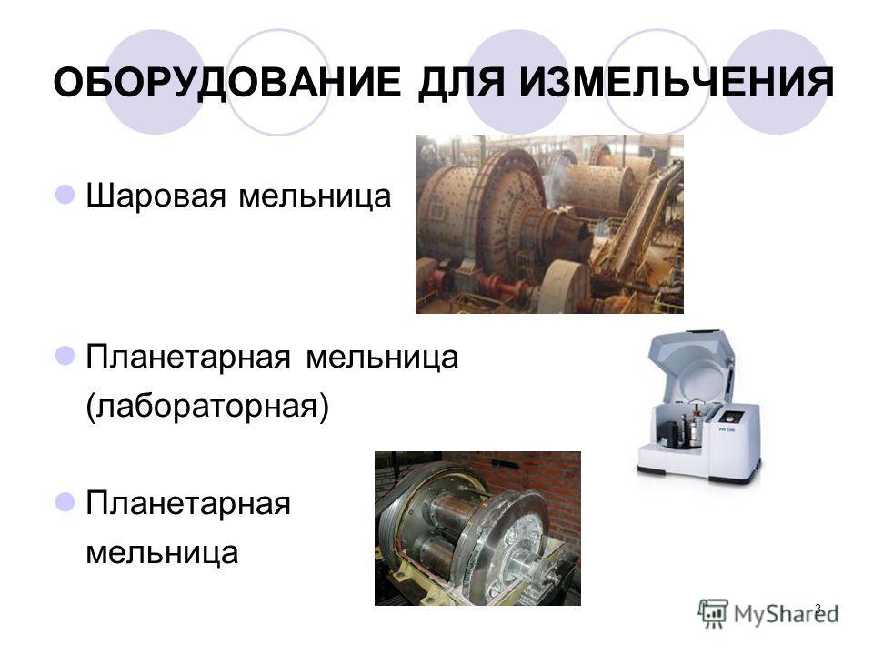 3 ОБОРУДОВАНИЕ ДЛЯ ИЗМЕЛЬЧЕНИЯ Шаровая мельница Планетарная мельница (лабораторная) Планетарная мельница
