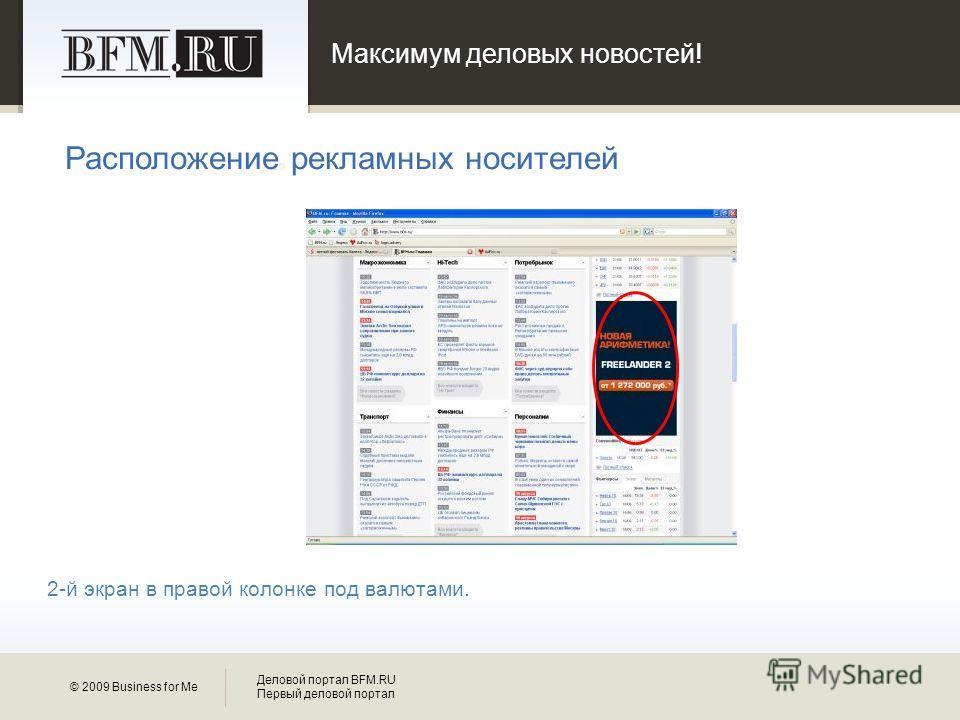 Максимум деловых новостей! 10 © 2009 Business for Me Деловой портал BFM.RU Первый деловой портал Расположение рекламных носителей 2-й экран в правой колонке под валютами.