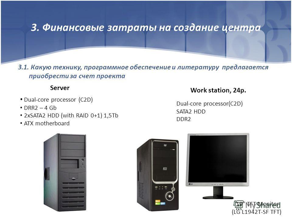 3. Финансовые затраты на создание центра 3.1. Какую технику, программное обеспечение и литературу предлагается приобрести за счет проекта Server Dual-core processor (C2D) DRR2 – 4 Gb 2xSATA2 HDD (with RAID 0+1) 1,5Tb ATX motherboard Work station, 24p