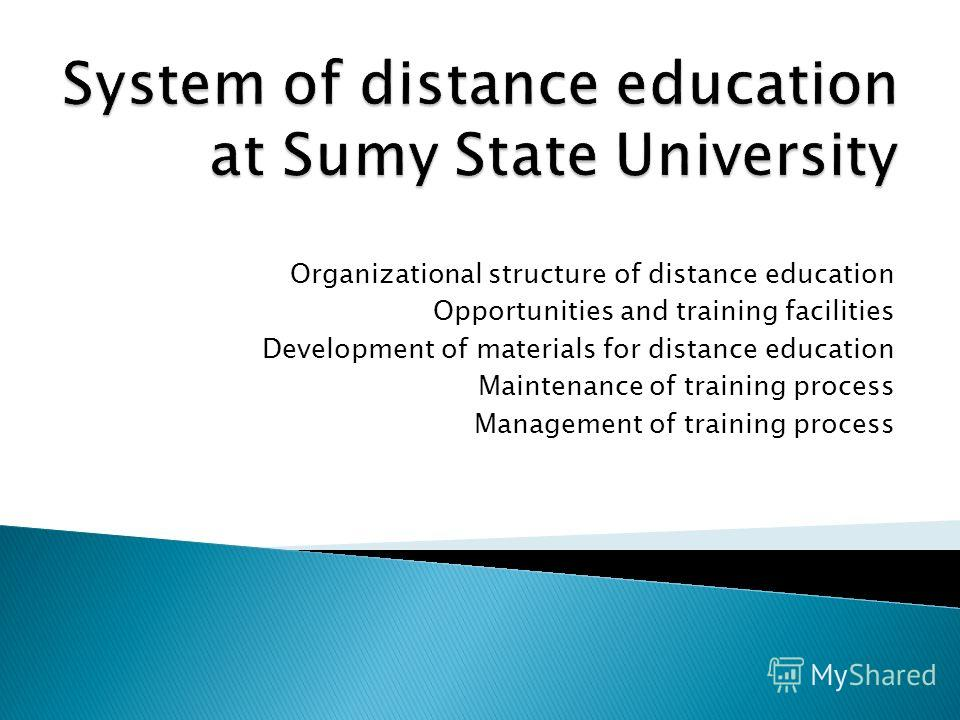 Organizational structure of distance education Opportunities and training facilities Development of materials for distance education Maintenance of training process Management of training process