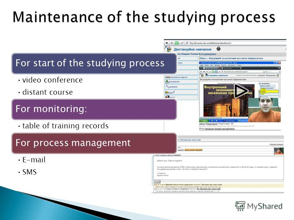 For start of the studying process video conference distant course For monitoring: table of training records For process management E-mail SMS