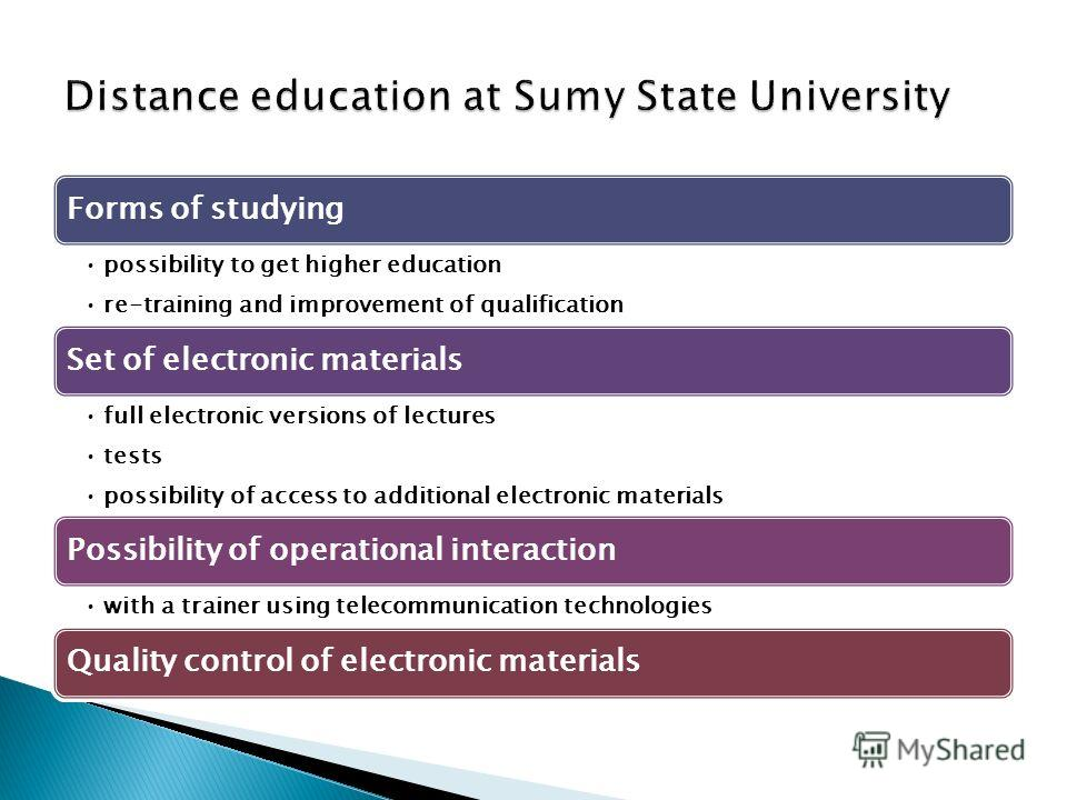 Forms of studying possibility to get higher education re-training and improvement of qualification Set of electronic materials full electronic versions of lectures tests possibility of access to additional electronic materials Possibility of operatio