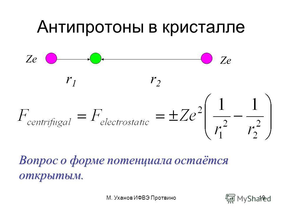 М. Уханов ИФВЭ Протвино19 Антипротоны в кристалле r1r1 r2r2 Вопрос о форме потенциала остаётся открытым. Ze