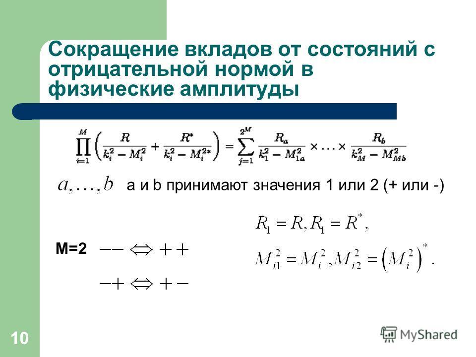 10 Сокращение вкладов от состояний с отрицательной нормой в физические амплитуды M=2 a и b принимают значения 1 или 2 (+ или -)