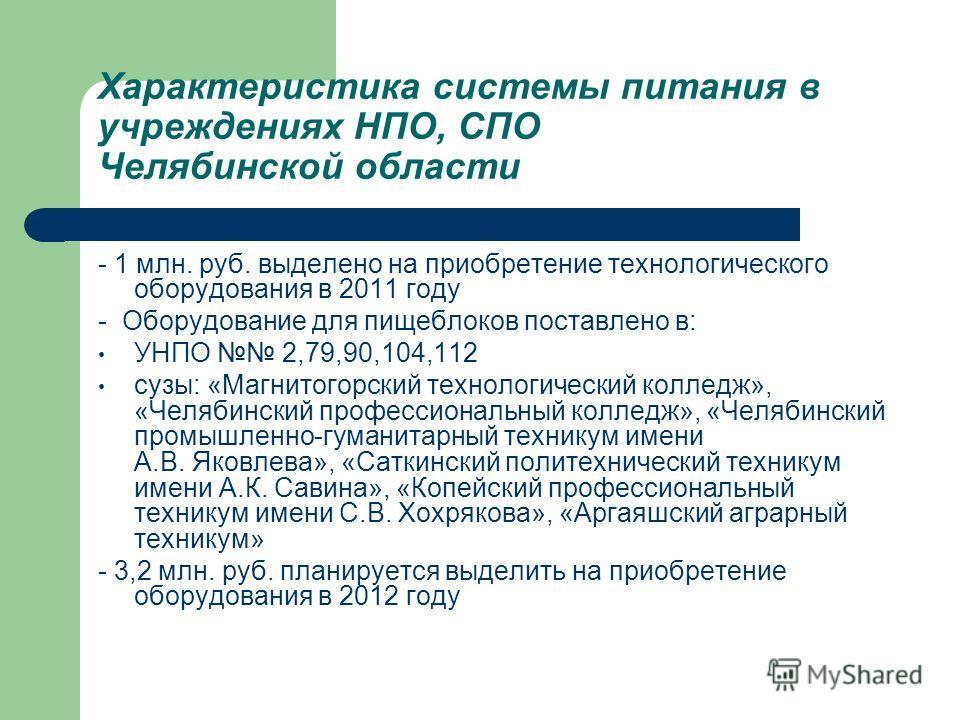 Характеристика системы питания в учреждениях НПО, СПО Челябинской области - 1 млн. руб. выделено на приобретение технологического оборудования в 2011 году - Оборудование для пищеблоков поставлено в: УНПО 2,79,90,104,112 сузы: «Магнитогорский технолог