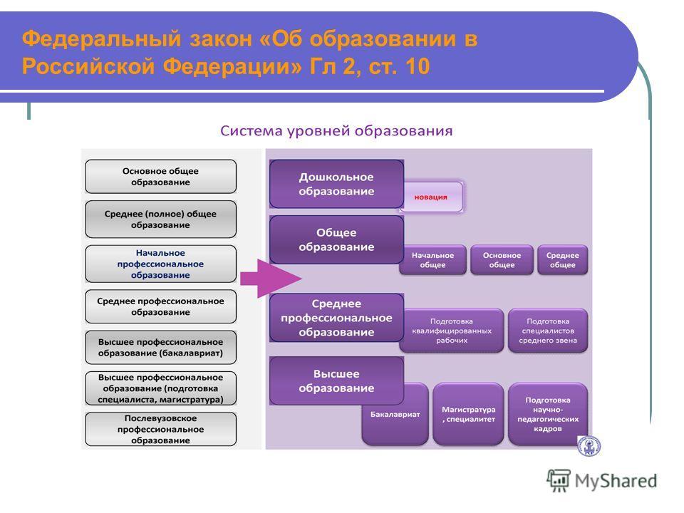 Федеральный закон «Об образовании в Российской Федерации» Гл 2, ст. 10