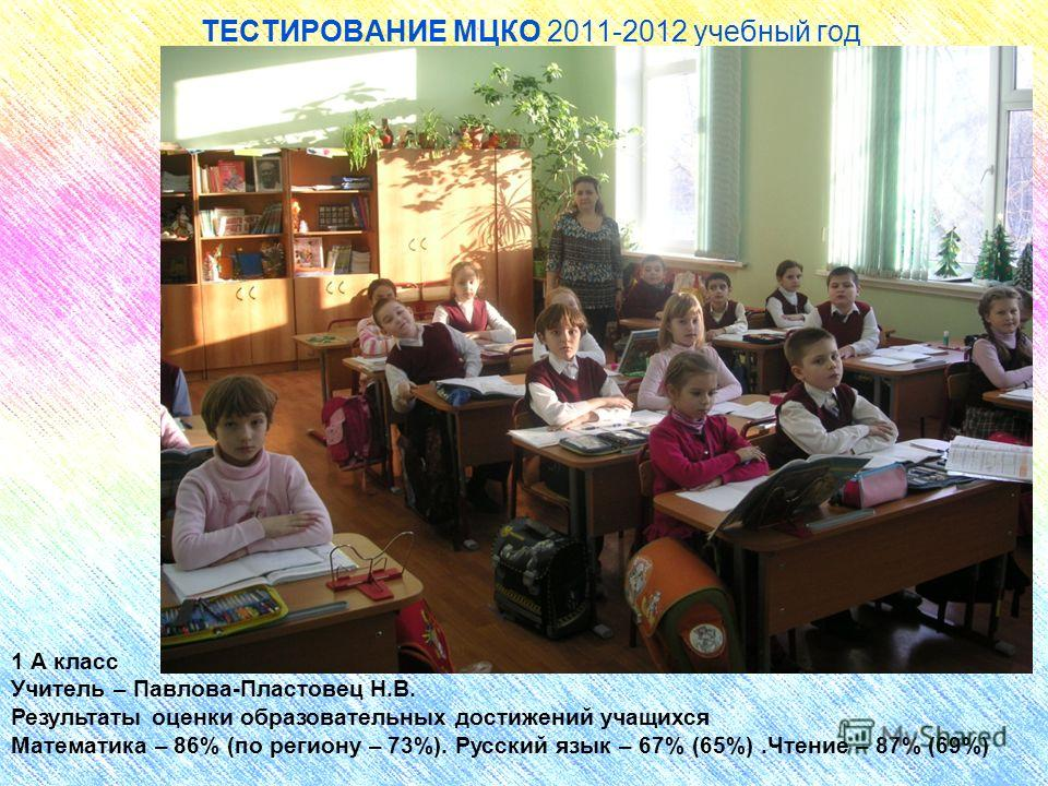 ТЕСТИРОВАНИЕ МЦКО 2011-2012 учебный год 1 А класс Учитель – Павлова-Пластовец Н.В. Результаты оценки образовательных достижений учащихся Математика – 86% (по региону – 73%). Русский язык – 67% (65%).Чтение – 87% (69%)