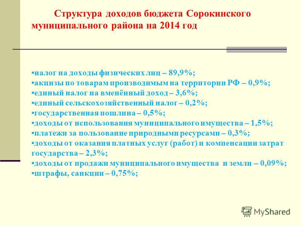 Структура доходов бюджета Сорокинского муниципального района на 2014 год налог на доходы физических лиц – 89,9%; акцизы по товарам производимым на территории РФ – 0,9%; единый налог на вменённый доход – 3,6%; единый сельскохозяйственный налог – 0,2%;