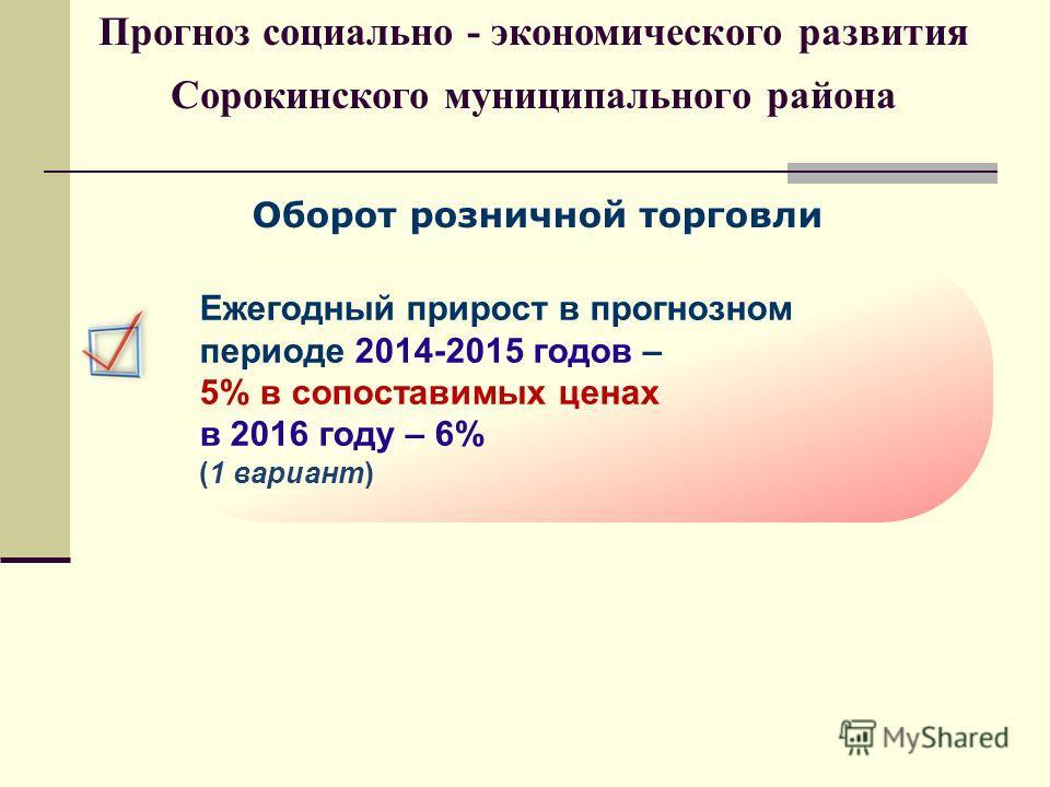 Оборот розничной торговли Ежегодный прирост в прогнозном периоде 2014-2015 годов – 5% в сопоставимых ценах в 2016 году – 6% (1 вариант) Прогноз социально - экономического развития Сорокинского муниципального района