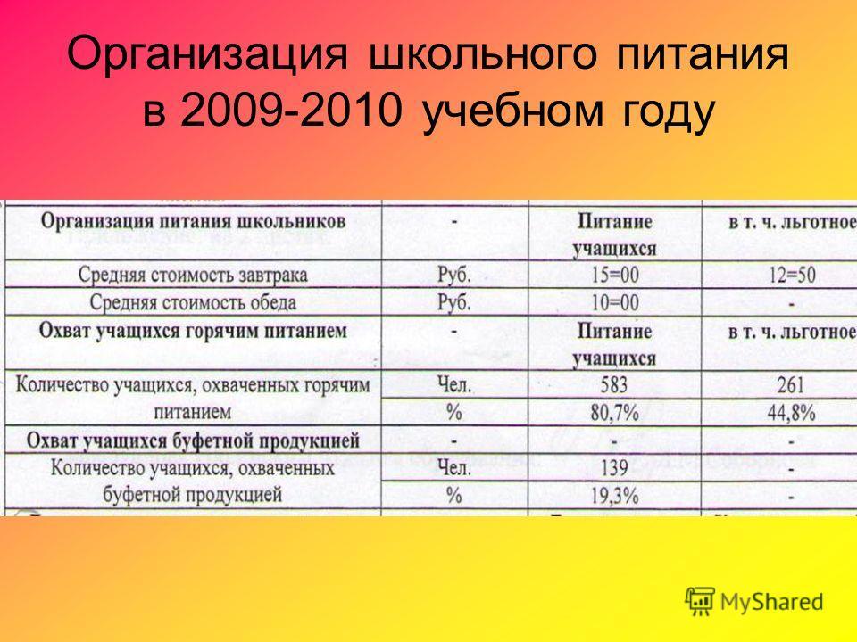Организация школьного питания в 2009-2010 учебном году