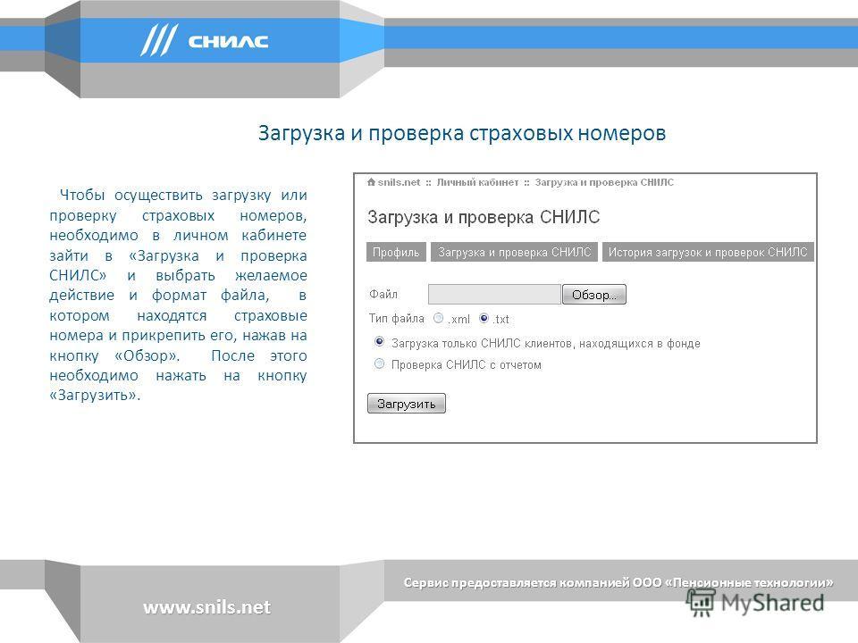 Сервис предоставляется компанией ООО «Пенсионные технологии» www.snils.net Чтобы осуществить загрузку или проверку страховых номеров, необходимо в личном кабинете зайти в «Загрузка и проверка СНИЛС» и выбрать желаемое действие и формат файла, в котор