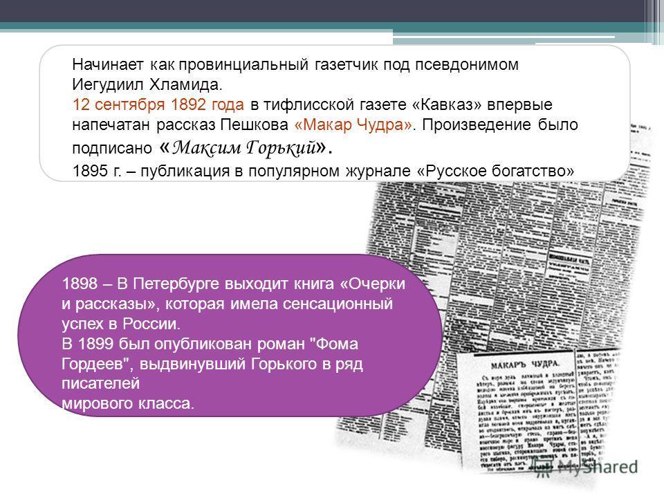 1898 – В Петербурге выходит книга «Очерки и рассказы», которая имела сенсационный успех в России. В 1899 был опубликован роман