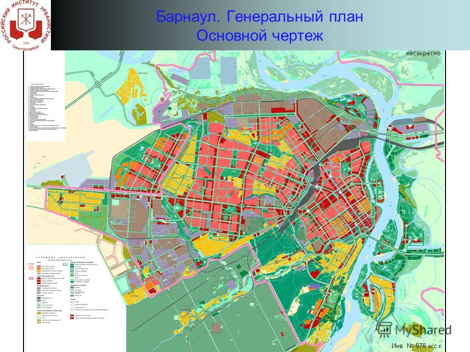 Барнаул. Генеральный план Основной чертеж несекретно Инв. 878 н/с к