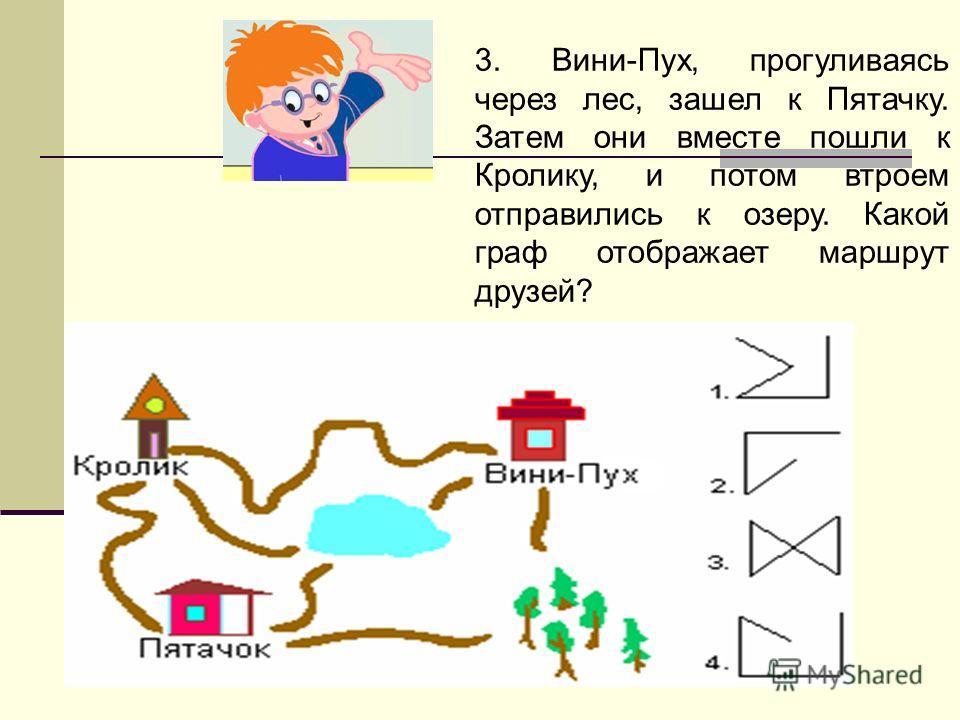 3. Вини-Пух, прогуливаясь через лес, зашел к Пятачку. Затем они вместе пошли к Кролику, и потом втроем отправились к озеру. Какой граф отображает маршрут друзей?