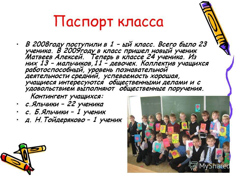 Паспорт класса В 2008году поступили в 1 – ый класс. Всего было 23 ученика. В 2009году в класс пришел новый ученик Матвеев Алексей. Теперь в классе 24 ученика. Из них 13 – мальчиков,11 – девочек. Коллектив учащихся работоспособный, уровень познаватель