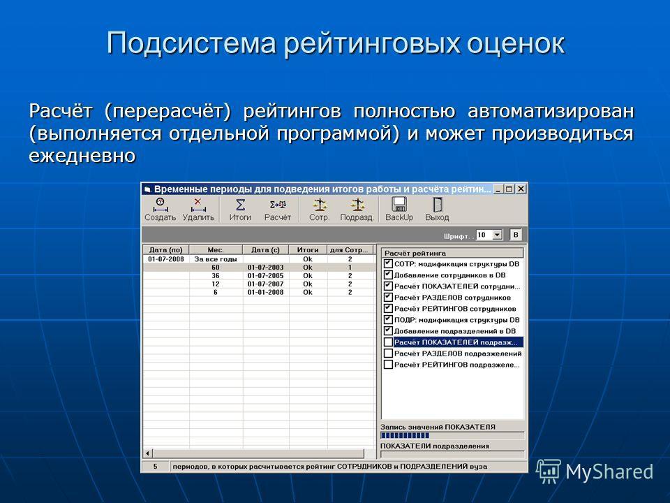 Подсистема рейтинговых оценок Расчёт (перерасчёт) рейтингов полностью автоматизирован (выполняется отдельной программой) и может производиться ежедневно
