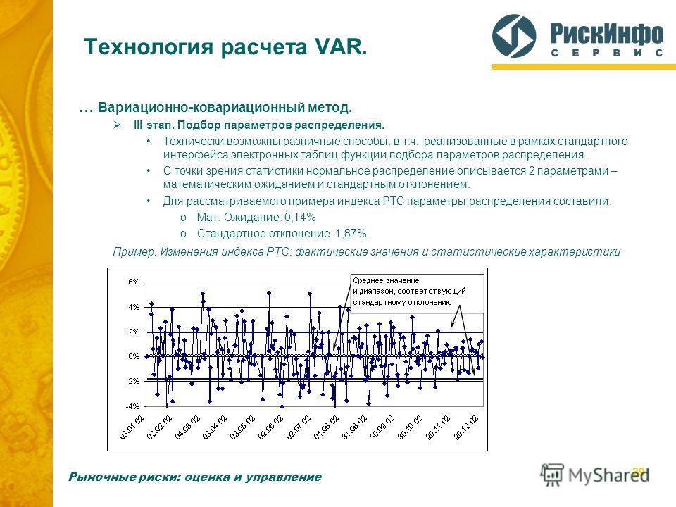 29 Технология расчета VAR. … Вариационно-ковариационный метод. III этап. Подбор параметров распределения. Технически возможны различные способы, в т.ч. реализованные в рамках стандартного интерфейса электронных таблиц функции подбора параметров распр