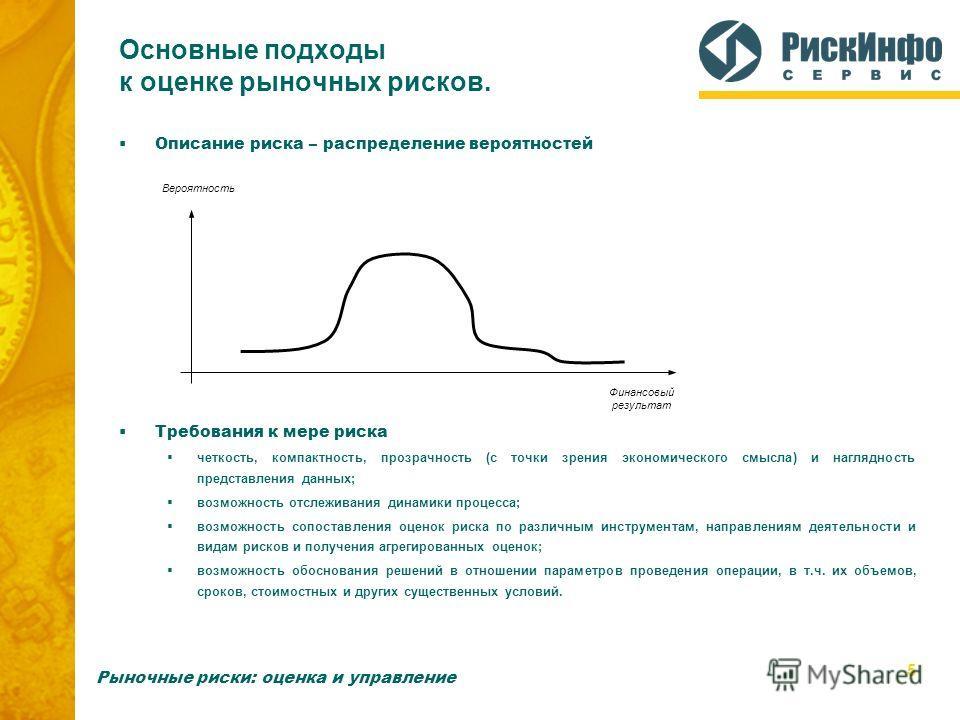 5 Основные подходы к оценке рыночных рисков. Описание риска – распределение вероятностей Требования к мере риска четкость, компактность, прозрачность (с точки зрения экономического смысла) и наглядность представления данных; возможность отслеживания