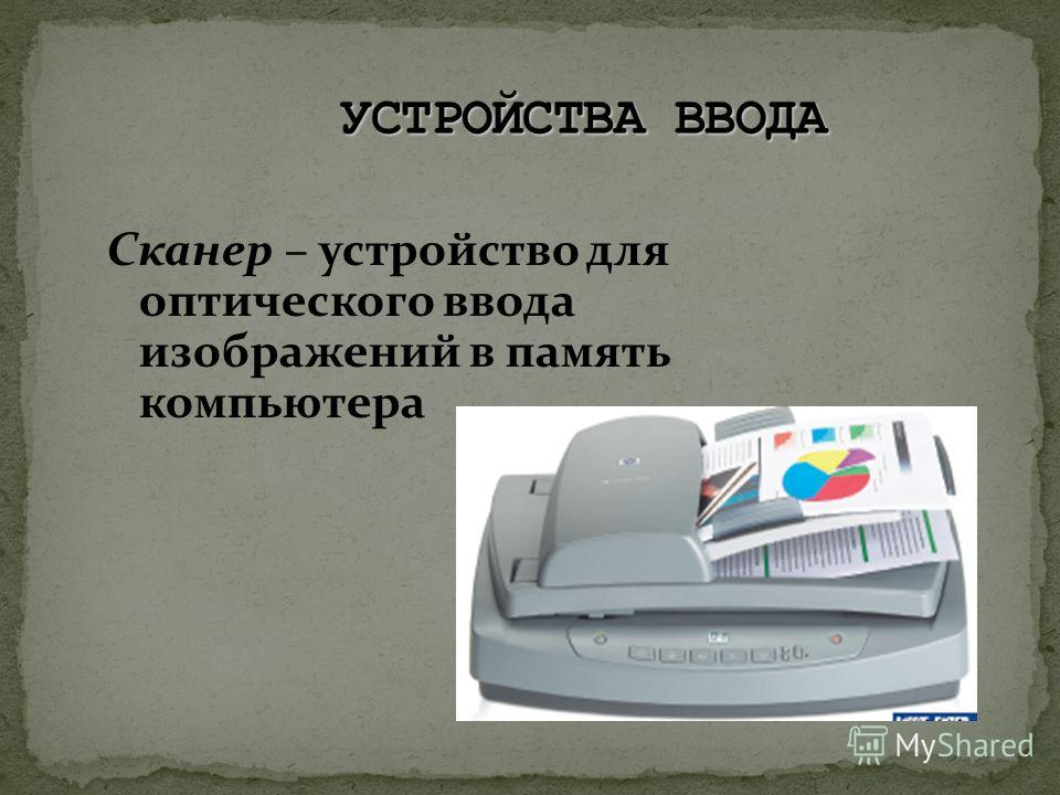 Сканер – устройство для оптического ввода изображений в память компьютера